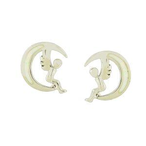 Angel and Moon White Opal Stud Earrings
