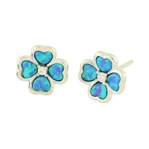 Blue Opal Lucky Clover Stud Earrings