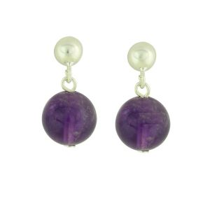 Amethyst Bead Small Drop Earrings