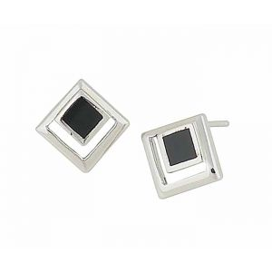Cut-out Square Black Onyx Silver Earrings