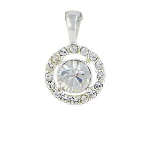 Swarovski Crystal Sterling Silver Circle Pendant