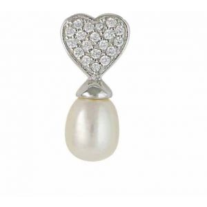 Freshwater Pearl and Silver Heart Necklace
