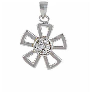 Five Petals Flower Silver Pendant