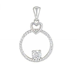Silver Heart and Circle Cubic Zirconia Pendant