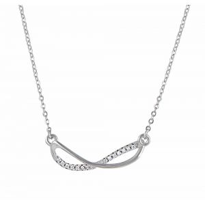 Elongated Silver Infinity Necklace
