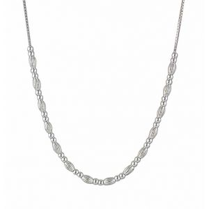 Round and Oval Silver Bead Necklace