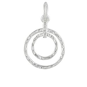 Graduating Silver Hammered Ring Pendant Necklace