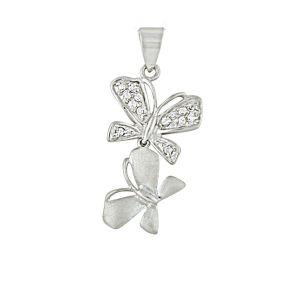 Twin Silver Butterfly Pendant