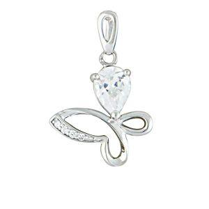 Stone-set Silver Butterfly Necklace