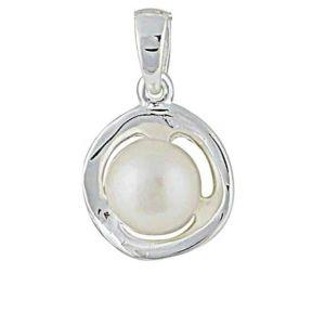 Freshwater Pearl Silver Circle Pendant
