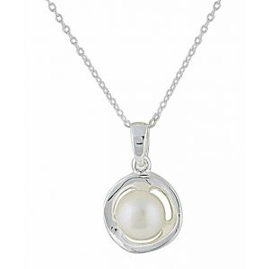 Freshwater Pearl Silver Circle Necklace