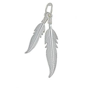 Double Feather Silver Pendant