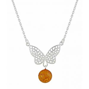 Butterfly and Amber Silver Necklace