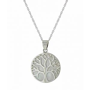 Mother of Pearl Silver Tree of Life Pendant