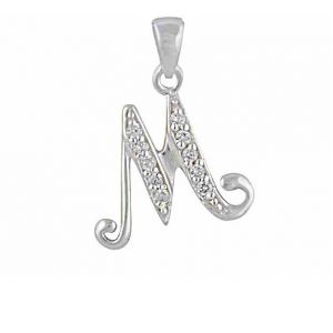 Initial M Cubic Zirconia Silver Necklace