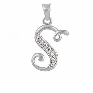Initial S Cubic Zirconia Silver Necklace