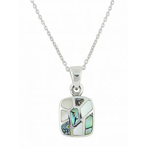 Mosaic Design Square and Mother of Pearl Silver Necklace