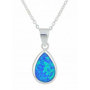 Blue Opal Teardrop Pendant