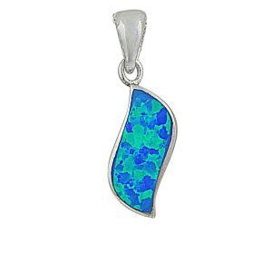 Blue Opal Wave Silver Pendant