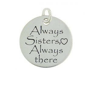"""Silver Disc """"Always Sisters Always There"""" Necklace"""