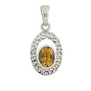 Hammered Oval and Citrine Silver Pendant