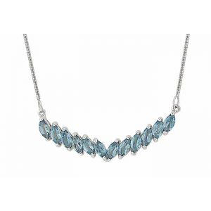 Marquise London Blue Topaz Silver Necklace