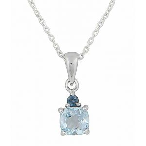 Blue Topaz Twin Square Silver Necklace
