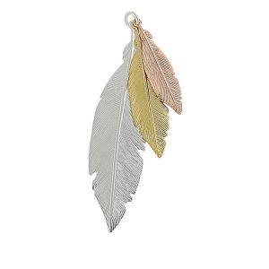 Trio of Feather Silver Pendant