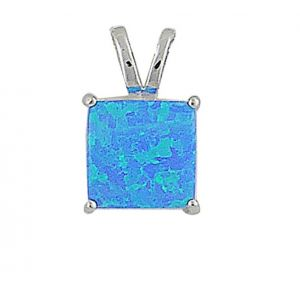 Small Square Blue Opal Silver Pendant