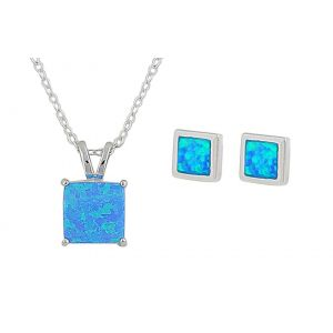 Square Blue Opal Silver Necklace and Earrings Set