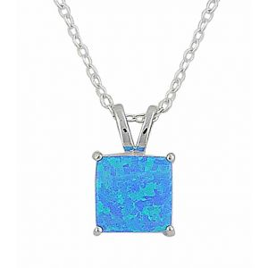 Small Square Blue Opal Silver Pendant