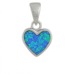 Blue Opal Small Heart Silver Pendant