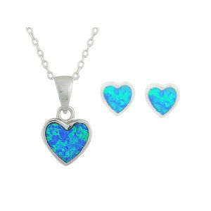 Mini Heart Blue Opal Earrings and Necklace Set