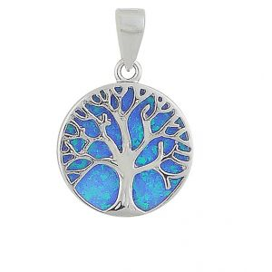 Blue Opal Tree Of Life Silver Necklace