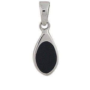 Black Onyx Small Silver Pendant