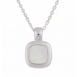 Mother of Pearl Small Square Silver Necklace