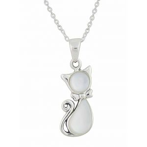 Mother of Pearl Cat Silver Pendant