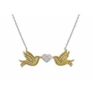 Duo of Gold Plated Bird and Heart Silver Necklace