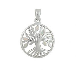 Tree of Life White Opal Sterling Silver Pendant