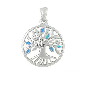 Tree of Life Blue Opal Sterling Silver Necklace