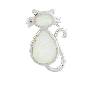 White Opal Cat Silver Necklace