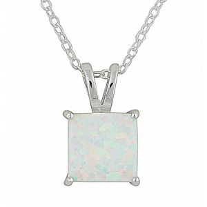 Small Square White Opal Silver Pendant