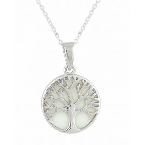 White Opal Tree Of Life Silver Necklace