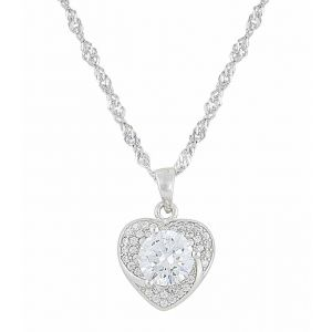 Small Cubic Zirconia Heart Silver Necklace