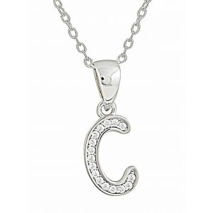 Initial C Small Silver Pendant Necklace