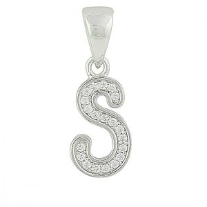 Initial S Small Silver Pendant Necklace