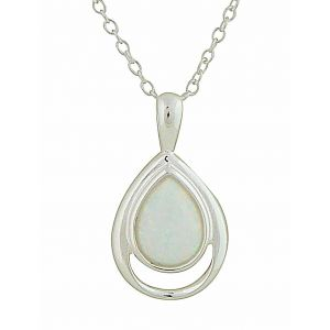 Open Teardrop and White Opal Silver Necklace