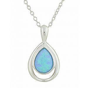 Open Teardrop and Blue Opal Silver Necklace