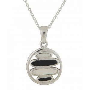 Mother of Pearl and Black Onyx Circle Necklace