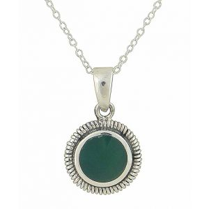 Green Agate Circlet Silver Drop Pendant